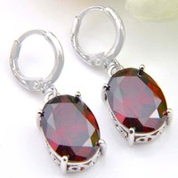 brincos franceses venda por atacado-LuckyShine 925 Oval Red Garnet Gemstone Dangle Brincos para festa Holiday Gift Francês fivela Brinco de 10 pares