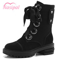 Wholesale suede leather boots for women resale online - Nasipal Zipper Botas Mujer Thick Bottom Genuine Leather Ankle Boots For Women Suede Lacing Motorcycle Boots Rivets Punk