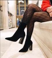 Wholesale black knit tights - 2018 new fashion letters lace hollow network red stockings sexy small mesh pantyhose women's Black and white socks