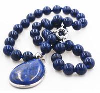 Wholesale egyptian lazuli lapis - Hot sell -New 8mm Natural Egyptian Lapis Lazuli 28x36mm pendant Necklace 18'' -Bridal jewelry free shipping