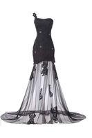 melhores vestidos de noite pretos longos venda por atacado-Melhor Gótico Transparente Um Ombro Lace Tulle Vestido de Noite Bainha Preta Custom Made Cristal Sweep Train Real Imagem Longa Formal Vestidos