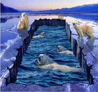 imagem dimensional venda por atacado-Tridimensional urso polar gelo rachado piso pintura imagem papel de parede para banheiros