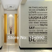 wall stickers quotes house rules 도매-House Rules Modren 낭만주의 Word Quote 벽 스티커 메모 벽 편지 예술