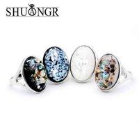 ingrosso anelli di modo delle signore grandi-SHUANGR Lady fashion Elegant Oval White Shell naturale Big Stone Anelli argento antico hollow nero gioielli in argento di alta qualità