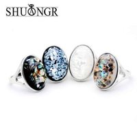 senhoras grande moda anéis venda por atacado-SHUANGR Lady moda Elegante Oval Branco Natural Shell Big Stone Anéis de prata antigo oco preto de alta qualidade de jóias de prata