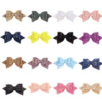 Wholesale 5 inch bows clips resale online - 5 inches Sequin Hair clip baby Girls Swallowtail Cute Hairpins Kids Hair Accessories colors Bow Barrettes C4695