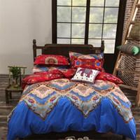 Wholesale blue floral sheet set queen resale online - Lndia Bohemian Style quilts and Bedding Sets mandala Floral Printed Bed Linens set Queen Size Duvet Cover Flat Sheet case Stripe