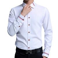 длинные формальные белые платья оптовых-Oxford Dress Shirt Men 5XL Business Casual Mens Long Sleeve Shirts Office Slim Fit Formal Camisa White Blue Pink  Fashion