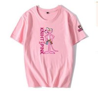ingrosso ragazzo coreano carino cartone animato-Summer Dress Pink Leopard T-shirt manica corta impertinente leopardata Ragazza e ragazzo Versione coreana allentata Ventaglio sventolante per gli amanti dei cartoni animati