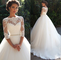 Wholesale Three Quarter Sleeve Long Dresses - 2018 Vintage Lace Ball Gown Wedding Dresses 2018 Three Quarter Long Sleeves Sheer Neck Tulle Bridal Gowns with Covered Buttons