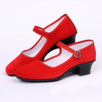 pisos negros chinos al por mayor-Zapatos chinos para mujer Mary Jane Zapatos clásicos de ballet negro Pisos de algodón S 35-41