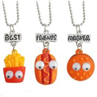 Wholesale Funny Necklaces - Funny 1.5~2cm BBF Best Friends Fast Food with Moving eyes Pendant Kids Chokers Resin Cartoon Necklaces 3pcs lot