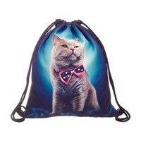 çanta kedi baskısı toptan satış-Tam baskı Genç İpli Çanta Omuz Okul Sırt Çantası Çanta Seyahat Spor (Kedi)