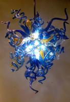 lámpara de comedor azul al por mayor-Moderno Murano Glass Chandelier Lighting Blue Triangle Chandeliers DIY lámpara colgante para comedor dormitorio sala de estar accesorio de iluminación