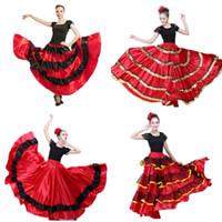 Más tamaño Dama Falda de flamenco española Trajes de baile Ropa para mujer  Rojo Negro Festival de corridas de toros español Desgaste de la danza del  vientre 35f44ed17701