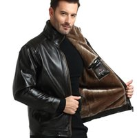 ingrosso cappotti marroni neri-Giacche di pelle sintetica PU per uomo Cappotti caldi di lana spessa per l'inverno Giacche di cerniera marrone nero Spedizione gratuita