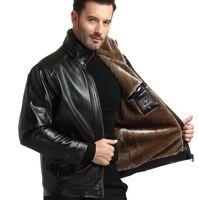 braune leder winterjacke großhandel-Männer PU Kunstleder Jacken Winter Fleece Dicke Warme Mäntel Schwarz Braun Zipper Jacken