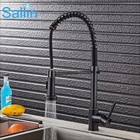 ingrosso rubinetti doccia nera-New and Hot Spring Pull Down Kitchen Faucet Crane Black Bronze Kitchen Faucet Mixer Ottone Spray testa doccia miscelatore