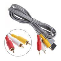 video kablosu kalitesi toptan satış-1.8 m Ses Video AV Kablosu Kurşun Kompozit RCA A / V Kablosu Adaptörü WiiU Için Wii Wii U için Yüksek Kalite HıZLı GEMI