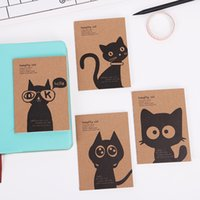 ingrosso blocco note del gatto-Kraft Paper Black Cat Notebook Vintage Notepad Quaderno Giornali Memo Kraft Cover Journal Note Books Cancelleria per ufficio