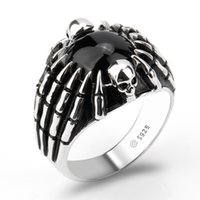 Wholesale Spider Real - 2018 Fashion Real 925 Sterling Silver Men Ring Black Agate Stone with Skull & Spider Picture Men Finger Ring