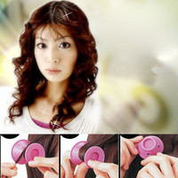 Wholesale Hairstyles Diy - Silicone Curlers 10Pcs set Hairstyle Soft Hair DIY Peco Roll Hair Style Roller Curler Salon Soft Silicone Pink Blue Hair Roller 3006050
