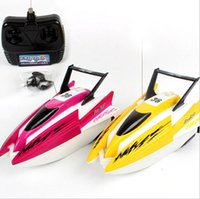 Wholesale mini toy boats - Mini Boat Remote Control Ship toy model Electric RC Racing Speed Electric Boat Ship Children Gift collection toy FFA475