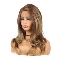 ingrosso parrucche frontali in pizzo merletto marrone-Parrucche lunghe ondulate calde del merletto delle parrucche di modo per le parrucche misti di colore della parrucca di colore marrone misto delle donne