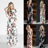 Wholesale Women Full Briefs - Fashion Summer Europe and America New Women full-length Party dresses round-neck long sleeve long foral dress