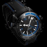ingrosso orologio blu del pianeta-Luxury PLANET OCEAN 600M GMT Work DEEP BLACK Blu Orologio automatico da uomo 215.92.46.22.01.002 Orologio sportivo da uomo trasparente Retro