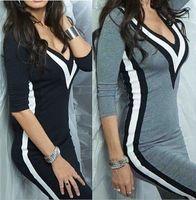 ingrosso abito geometrico bianco nero-Vestito estivo da donna Vestidos con scollo a V Sexy in bianco e nero geometrico patchwork Body-abbracci Slim abiti aderenti attillati