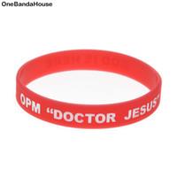 ingrosso corpo del logo-100PCS / Lot OPM Doctor Jesus Silicone Wristband Braccialetto rosso Inchiostro pieno di inchiostro Logo speciale Hurtless To Body