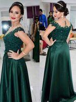 dunkelgrüne perlen großhandel-Nach Maß Dark Green Lace Perlen Mutter der Braut Bräutigam Kleider Kurzarm mit Rüschen Formelle Abendkleid Party Kleid