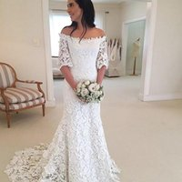 Wholesale wedding dresses hottest bride models for sale - 2019 Elegant White Off Shoulder Wedding Dresses Half Sleeves Lace Country Style Fall Winter Bride Gowns Custom Made Hot Sale