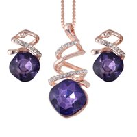 Wholesale dark purple necklace for sale - Group buy Geometric Crystal Jewelry Sets Fashion Spiral Water Drop Pendant Necklace Earrings Engagement Wedding Jewelry Set Set Bridal Jewelry Set