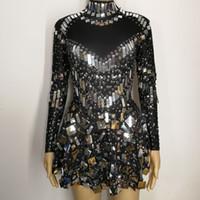 vestidos de estrela sexy venda por atacado-Lantejoulas pretas espelhos pedras sexy trajes femininos cristais Brilhantes diamante cantor boate bar show de DJ vestido de desempenho estrela
