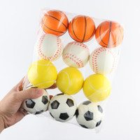 Wholesale squeezing balls free online - New cm Stress Ball Squeeze Soft Foam Ball Squeezing Balls Basketball Football Tennis Hand Wrist Exercise Novelty Items