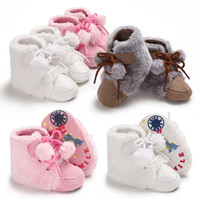 Wholesale soft soled toddler boots online - 2018 New Fashion Cute Toddler Solid Newborn Baby Boys Girls Soft Sole Crib Shoes Warm Boots Anti slip Sneakers M