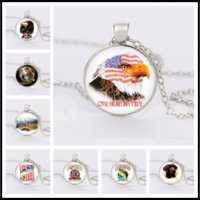 Wholesale circle eagle - 2018 Glass Necklaces,Fish, Dogs,eagle Silver Cabochon Time Gemstone Necklace Pendant Jewelry for Woman Man Child Baby