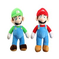 "Wholesale mario plush figure - 100% Cotton 2pcs Lot 9"" 23cm Super Mario Bros . Mario And Luigi Plush Doll Stuffed Toy Best Gifts"