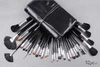 Wholesale Wholesale Leather Handles - 32Piece Makeup Brushes Set Wool Brush End Wood Handle Multi-Function Brushes With Good Quality Black Leather Pouch
