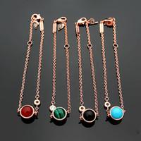 rote achate zum verkauf großhandel-316L Titan Stahl heißer Verkauf P Brief drehbare Perlen Armband 18 Karat vergoldet Damen schwarz Achat Türkis Armband