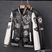 melhores casacos para homens venda por atacado-Best selling 2018 homens jaquetas marca homens casuais pu casaco de moda hip hop beisebol bordado jaqueta de NY moletom