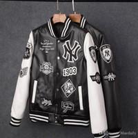 en çok satan palto toptan satış-En çok satan 2018 Erkekler ceketler Marka Caual Erkekler pu ceket Moda Hip Hop nakış beyzbol NY ceket Tişörtü