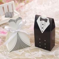 couleur organza chocolat achat en gros de-Bonbonnière de mariage Mariée et le marié Coffrets Cadeaux Fête Faveurs De Mariage Cadeaux Cadeau Cadeau De Porte De Mariage
