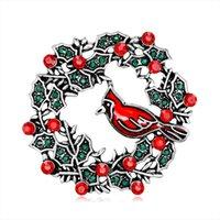 ingrosso monili animali dell'oro 18k dell'oro-Parrot Branch Spille di Natale per le donne ragazze Panno accessori Vintage oro argento placcato strass pin femmina Animali gioielli DB
