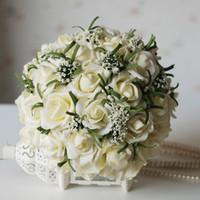 accessoires de bouquet de la main de la mariée achat en gros de-Populaire 2019 Bouquets De Mariage Pour La Mariée Soie Main Tenant Des Fleurs À La Main De Mariage Bouquet De Mariée Accessoires Blanc Rose