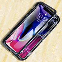 Wholesale metal bumper cases - Luxury phone case Magnetic Adsorption Flip for iphone x case Tempered Glass Back Cover Metal Bumpers for Goophone phone case