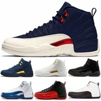 Wholesale tables games - 12 Men Basketball Shoes Michigan College Navy Dark Grey Wool PARIS PSNY MELO Bordeaux Flu Game Baron S Mens Sport Designer Sneakers