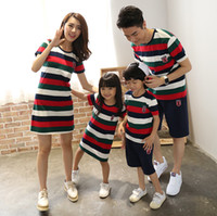 Wholesale Clothes For Father Son - summer matching family clothing for mother daughter & father son family look outfits fashion stripe cotton Dresses t shirt Pants Sets A8796